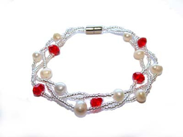 7 inches  red Pearl fashion bracelet