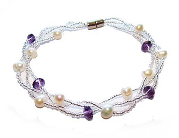 7 inches  purple Pearl fashion bracelet