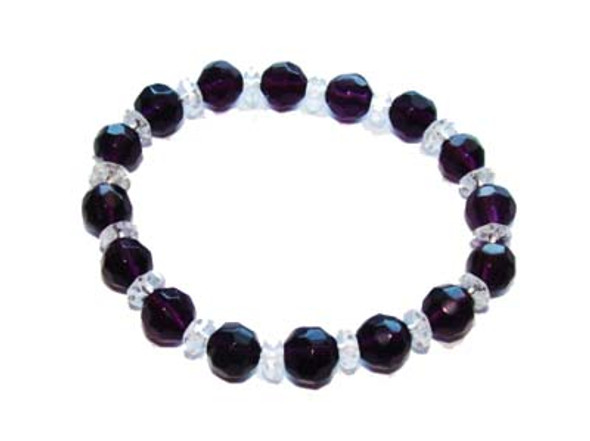 7 inches  dark purple Glass stretch bracelet