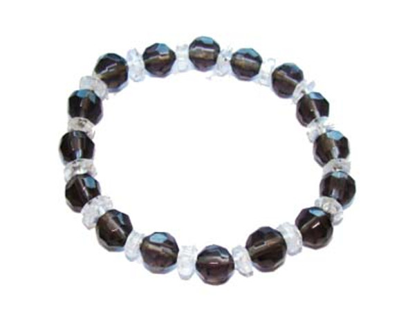 7 inches  smoky Glass stretch bracelet