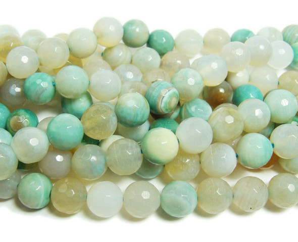 8mm  Striped turquoise agate faceted round beads
