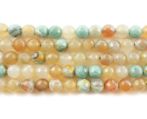 10mm Pale Striped Turquoise Agate Faceted Round Beads