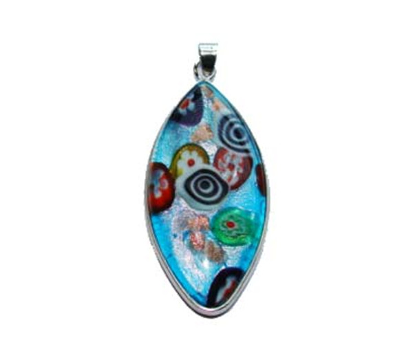 23x46mm  blue mulit-color Murano style glass marquise pendant