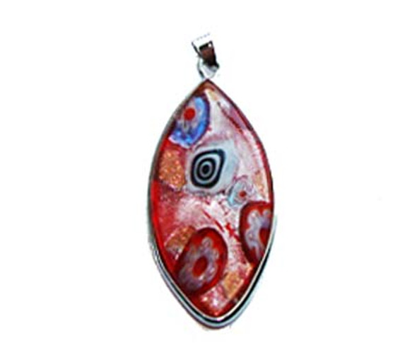 23x46mm  red mulit-color Murano style glass marquise pendant