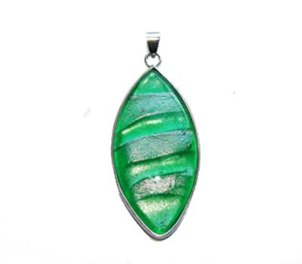 23x46mm  green stripes Murano style glass marquise pendant