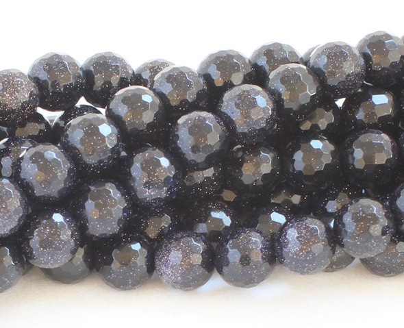 14mm Blue goldstone faceted round beads