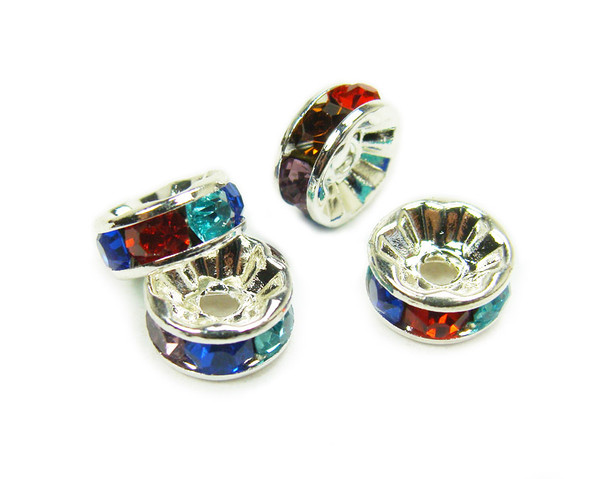 "4x8mm  pack of 50  multi color Cubic Zirconia ""CZ"" spacer beads"