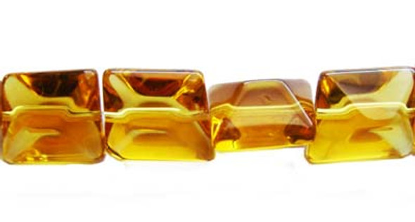 14x16mm  12 inches Amber glass faceted nugget beads
