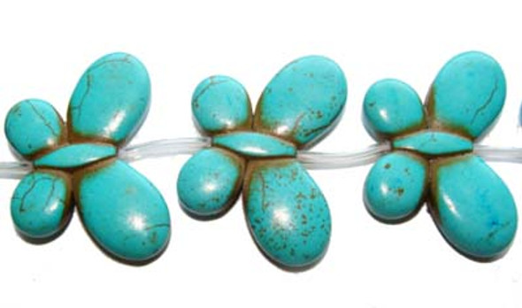 25x35mm  6 beads Turquoise/howlite carved butterfly beads
