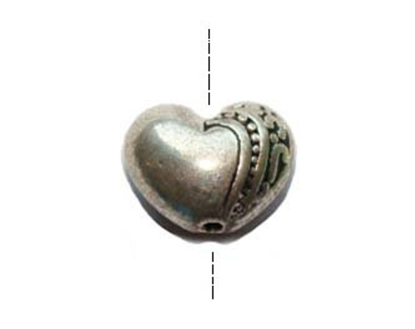 7x9.5mm  pack of 20 pcs Bali Style pewter heart beads