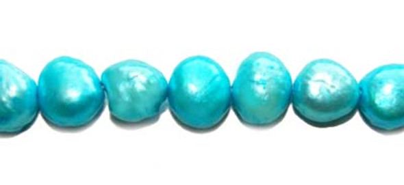7 - 8mm Bright blue pearl nuggets