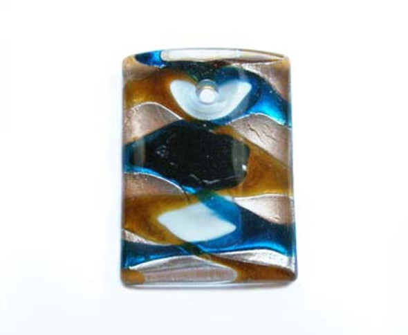 35x45mm  brown back Murano style glass rectangle pendant