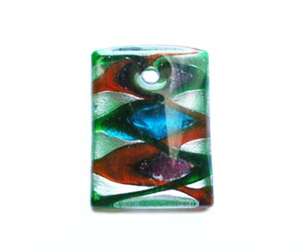 35x45mm  green back Murano style glass rectangle pendant