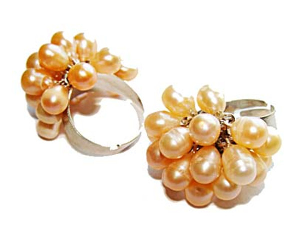 one size fits all  priced for one ring Peach-color pearl ring