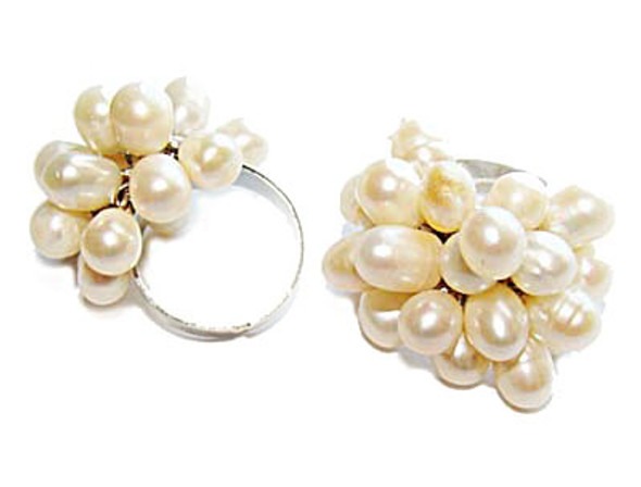 One Size Fits All Priced For One Ring White Pearl Ring