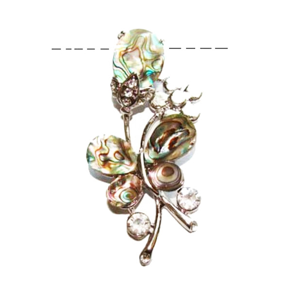 30x60mm Abalone shell flower and butterfly pendant