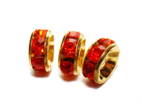 "8mm  pack of 50  red stones  gold plated brass Cubic Zirconia ""CZ"" spacer beads"