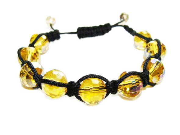 one size fits all goldenrod glass with AB finish bracelet
