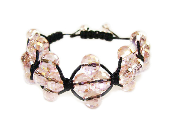 one size fits all Clear pink glass bracelet