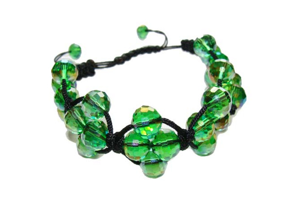 one size fits all  green with AB finish Shamballa style glass bracelet