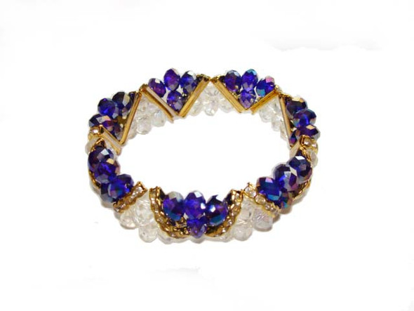 7 3/4 - 8 inches  blue Fashion glass stretch bracelet