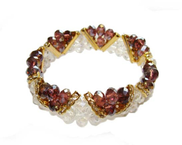 7 3/4 - 8 inches  purple Fashion glass stretch bracelet
