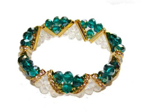 7 3/4 - 8 inches  green Fashion glass stretch bracelet