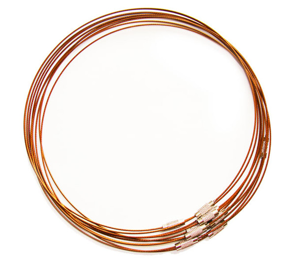 18 inches  brown  priced for five necklaces Cable wire round necklace