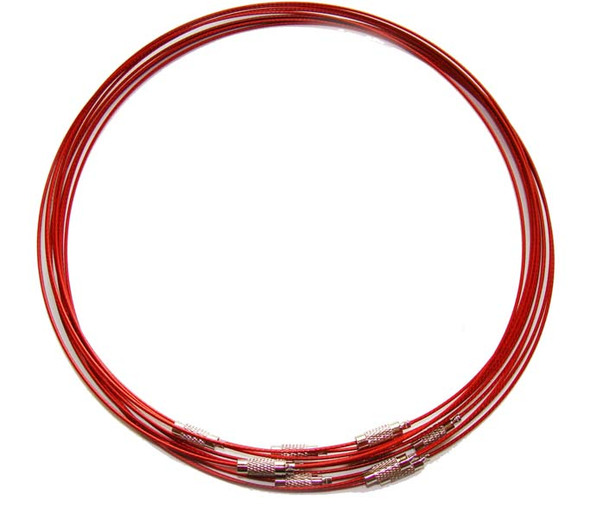 18 inches  red  priced for five necklaces Cable wire round necklace
