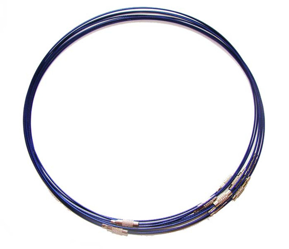 18 inches  blue  priced for five necklaces Cable wire round necklace