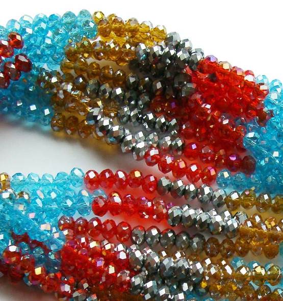 """2x4mm  12.5""""  blue  red  silver  brown Glass faceted rondelles"""