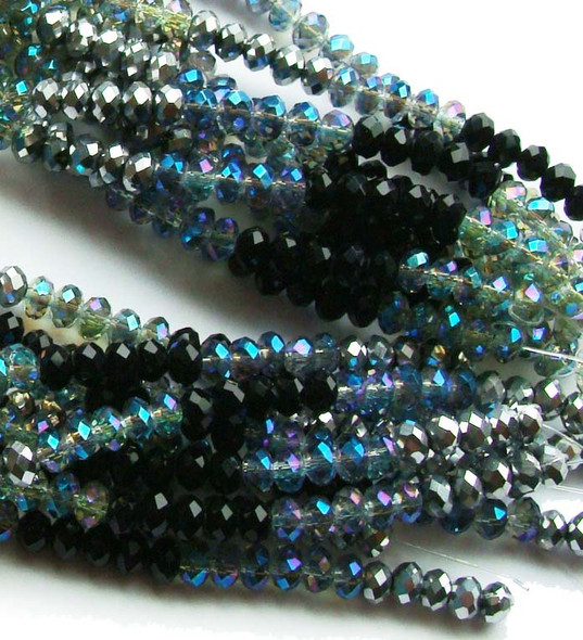 """2x4mm  12.5""""  black  silver  clear with AB finish Glass faceted rondelles"""