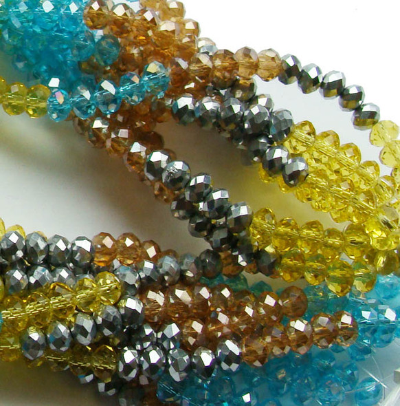 """2x4mm  12.5""""  silver  brown  blue  yellow Glass faceted rondelles"""