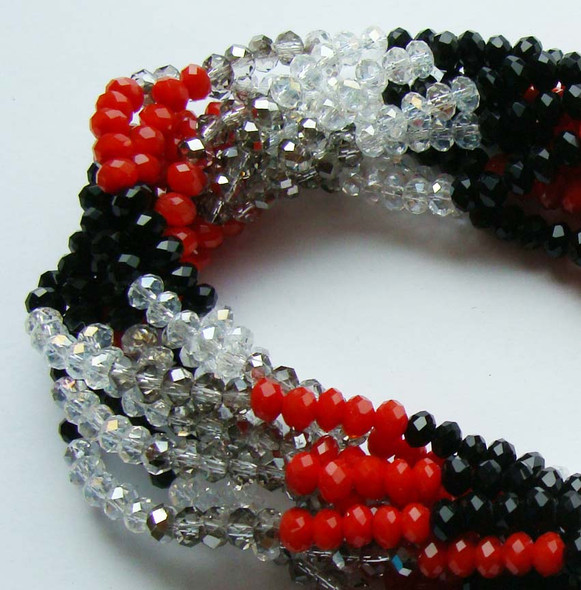 """2x4mm  12.5""""  red  black  clear  smoky Glass faceted rondelles"""