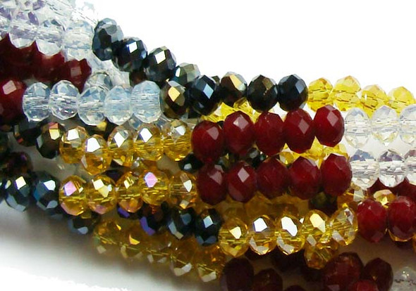 """2x4mm  12.5""""  dark red  brown  clear  gray with AB finish Glass faceted rondelles"""