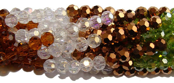 "4mm  15""  gold  green  clear  brown Glass faceted round beads"