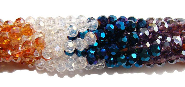 4mm  blue  clear  champaigne  purple Glass faceted round beads