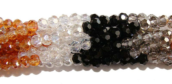 """4mm 14.5"""" Black Clear Brown Smoky Glass Faceted Round Beads"""