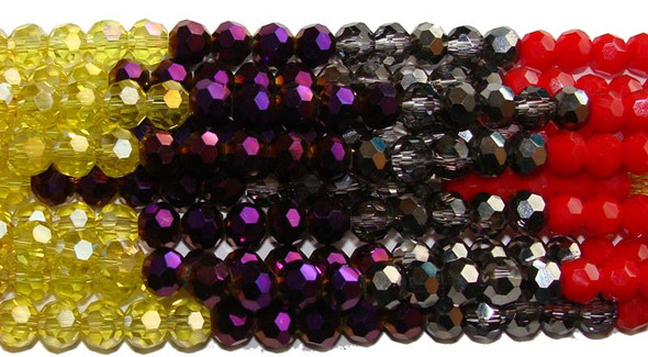 "6mm  12.5""  red  smoky  purple  yellow Glass faceted round beads"