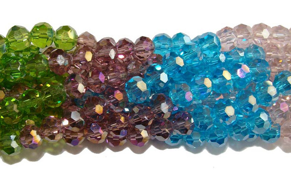 "6mm  12.5""  green  blue  lilac  pink Glass faceted round beads"