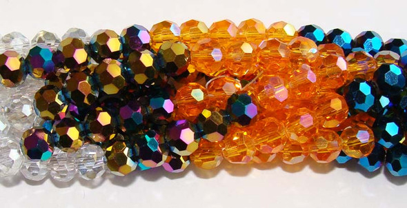 "6mm  12.5""  orange  dark blue  clear  multi Glass faceted round beads"