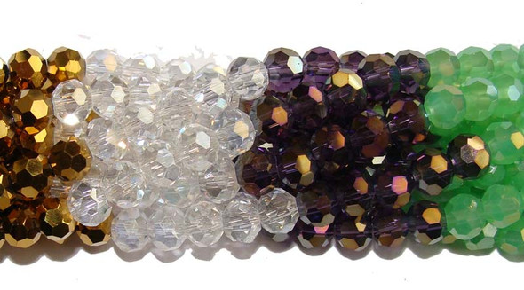 "6mm  12.5""  green  gold  purple  clear Glass faceted round beads"