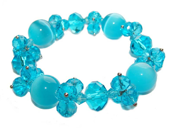 8 inches  sea blue Fashion glass stretch bracelet