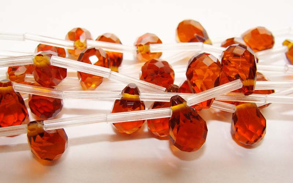 8x12mm Reddish Brown Pear-Shaped Faceted Glass Beads