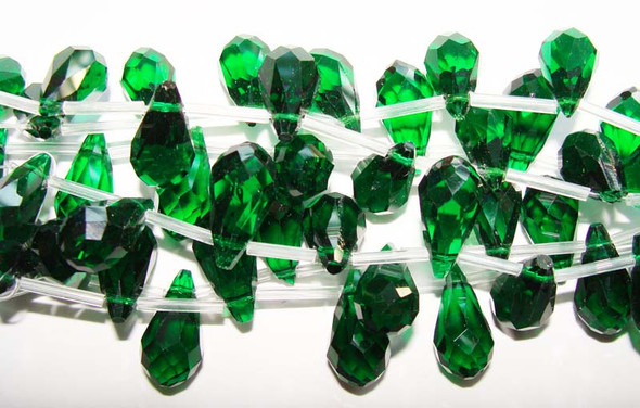 10x18mm 8 Beads Dark Green Glass Faceted Briolette Beads