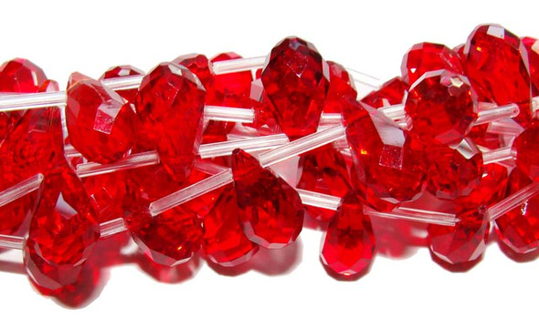 10x18mm 8 Beads Red Glass Faceted Briolette Beads