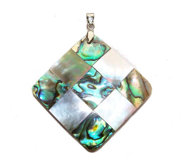 35x35mm Mosaic abalone and black shell diamond-shaped pendant