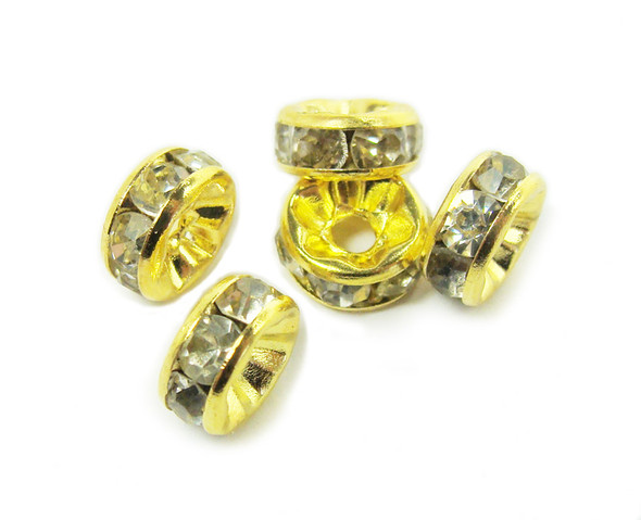 4x8mm  pack of 50 CZ gold plated spacers with white stones