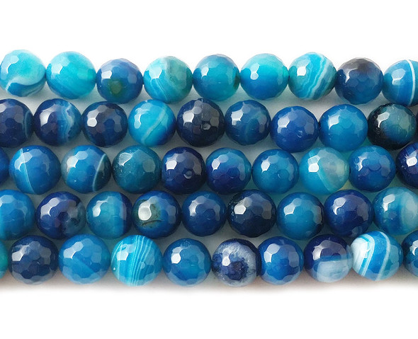8mm Sea Blue Striped Agate Faceted Round Beads