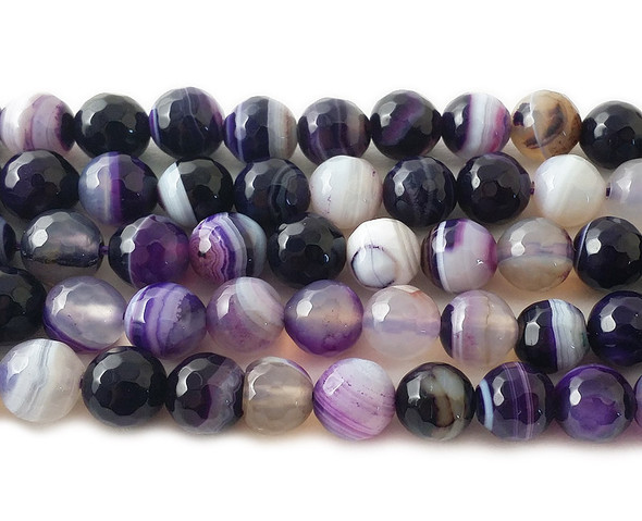 8mm  15.5 inch strand Purple striped agate faceted round beads